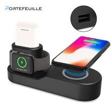 Portefeuille 4 in1 Qi Беспроводная док-станция для зарядного устройства Pad подставка для iphone XS MAX XR 8 плюс X10 Apple Watch 3 2 Airpods Индукционная зарядка