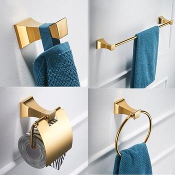 цена на Gold Bathroom Accessories Set Toilet Bursh Holder Gold Polished Towel Ring Bath Corner Shelf Wall Mount Bathroom Products Hook