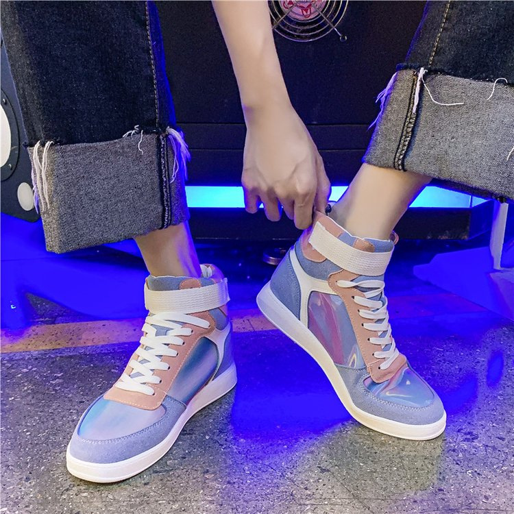 Mhysa 2019 Autumn Women Fashion Sneakers High Top Hook Loop Lace Up Platform Casual Shoes flat Heel Women's vulcanized shoes 46