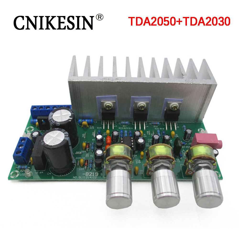 Free Shipping 2pcs Tda2050 Tda2030 21 Three Channel Way Module 32w Hi Fi Audio Amplifier With Cnikesin Channels Subwoofer Board Finished 60w Ac9 15v