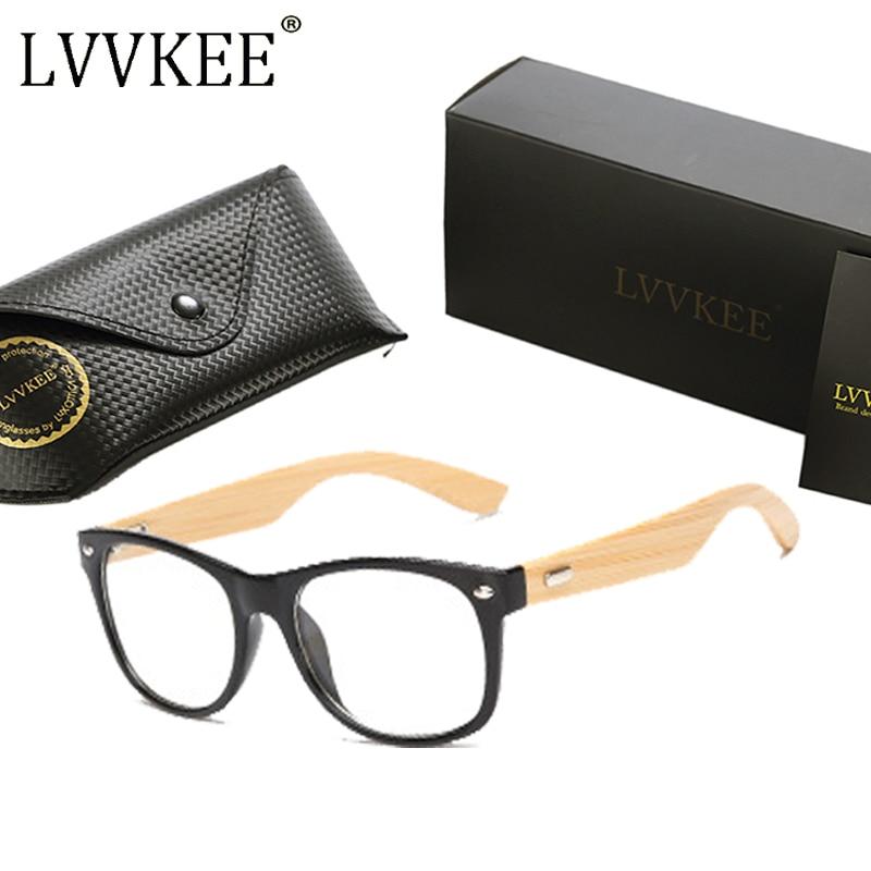 LVVKEE merek Kayu Bingkai wanita Mens datar cermin kacamata Baca - Aksesori pakaian - Foto 4