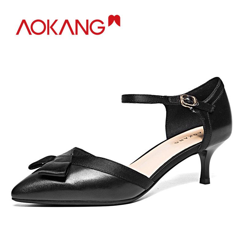 AOKANG Spring Shoes woman leather genuine women shoes med heel pointed toe shoes sweet casual leisure