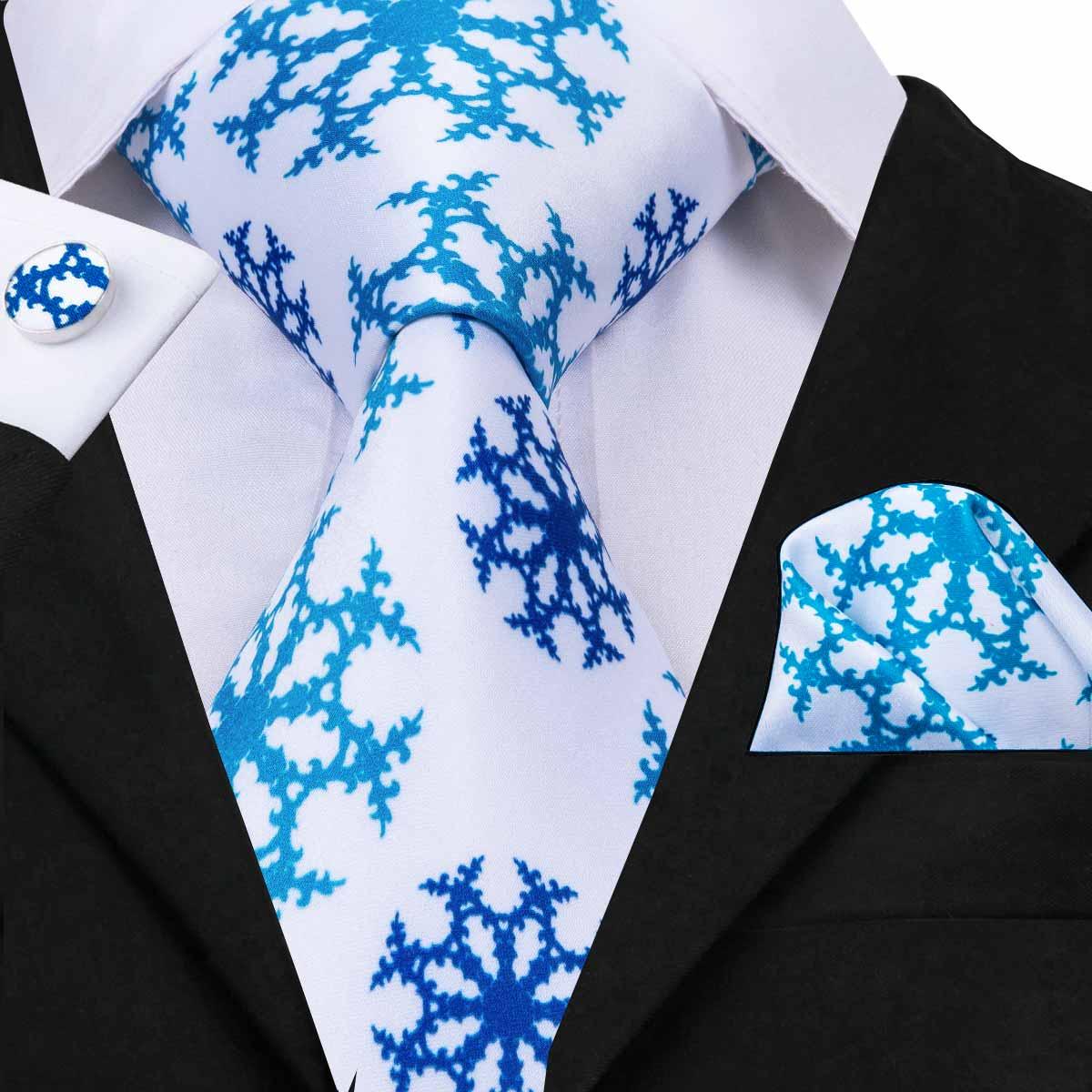 Hi-Tie Silk  Men's Blue White Tie Snow Floral 2019 Fashion Ties For Men Necktie Pocket Square Set Beauty Wedding Ties C-3094