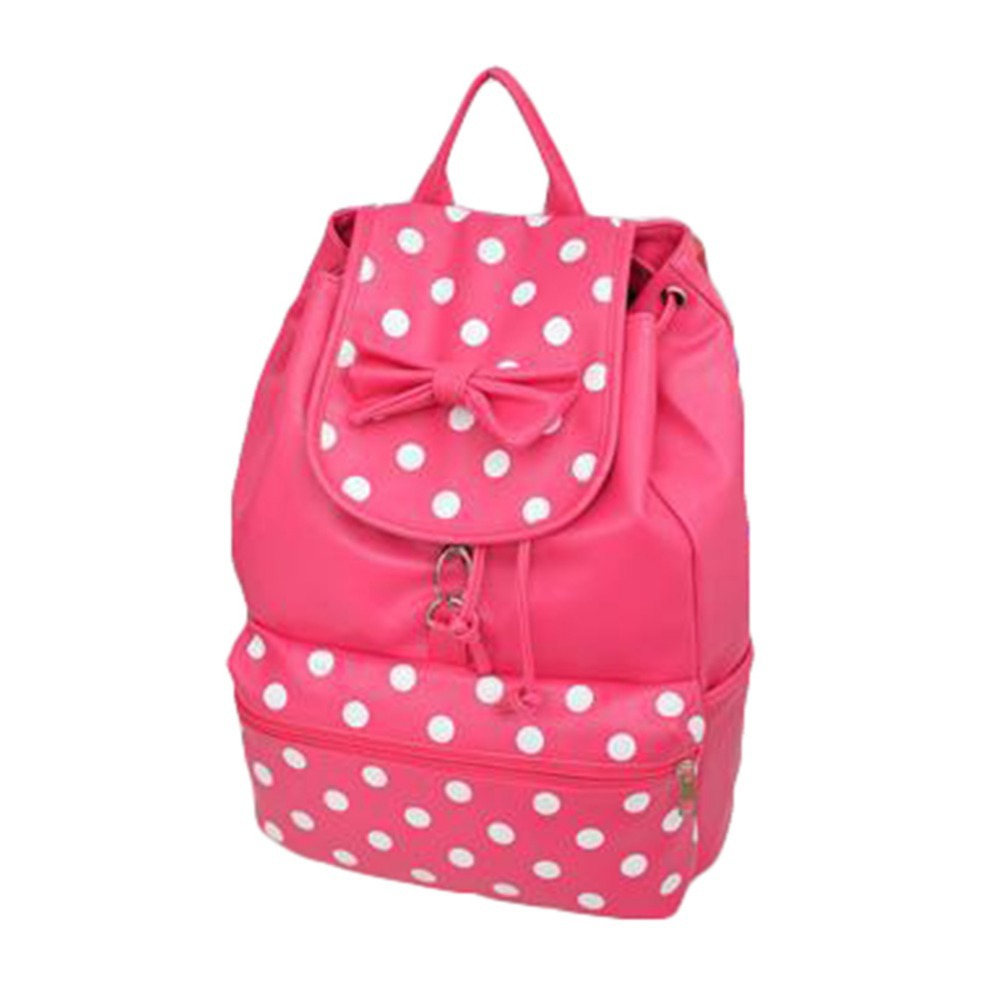 Aliexpress.com : Buy Women Girl PU Leather Polka Dot Backpack ...