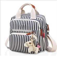 Canvas womens shoulders Europe and the United States casual diagonal multi-function Mummy bag multi-layer stripes