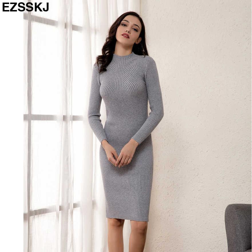 041b0077b6e ... 2018 slim female autumn winter midi sweater dress women sexy bodycon  dress long sleeve robe solid ...