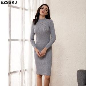 Image 2 - Slim נקבה סתיו חורף midi סוודר שמלת נשים סקסי bodycon שמלה ארוך שרוול גלימת שמלת מוצק בסיסי סרוג שמלה מוצק