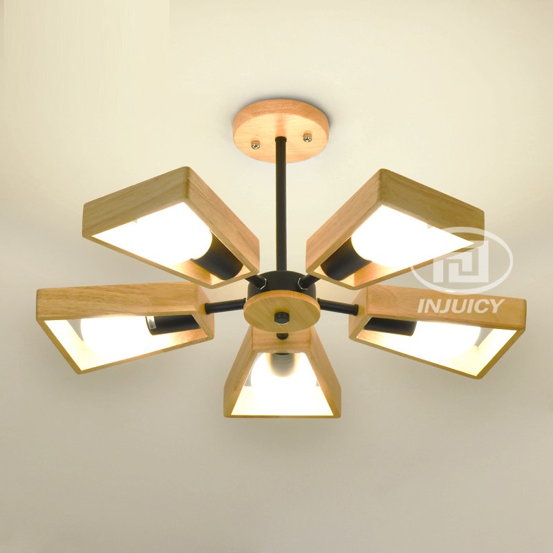Nordic Классическая LED Droplight твердой древесины Ветряные мельницы исследование столовая Спальня подвесной светильник