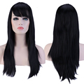 Full Head Wigs 60cm  Long Straight Fashion Natural Black Hair Wig with Oblique Bangs for Women High Heat Resistant TW067