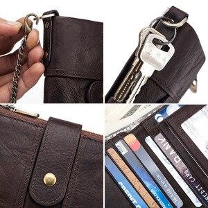 Image 4 - 100% جلد طبيعي محفظة بشريحة RFID الرجال مجنون الحصان محافظ محفظة نسائية للعملات المعدنية قصيرة الذكور المال حقيبة جودة مصمم مصغرة Walet صغيرة