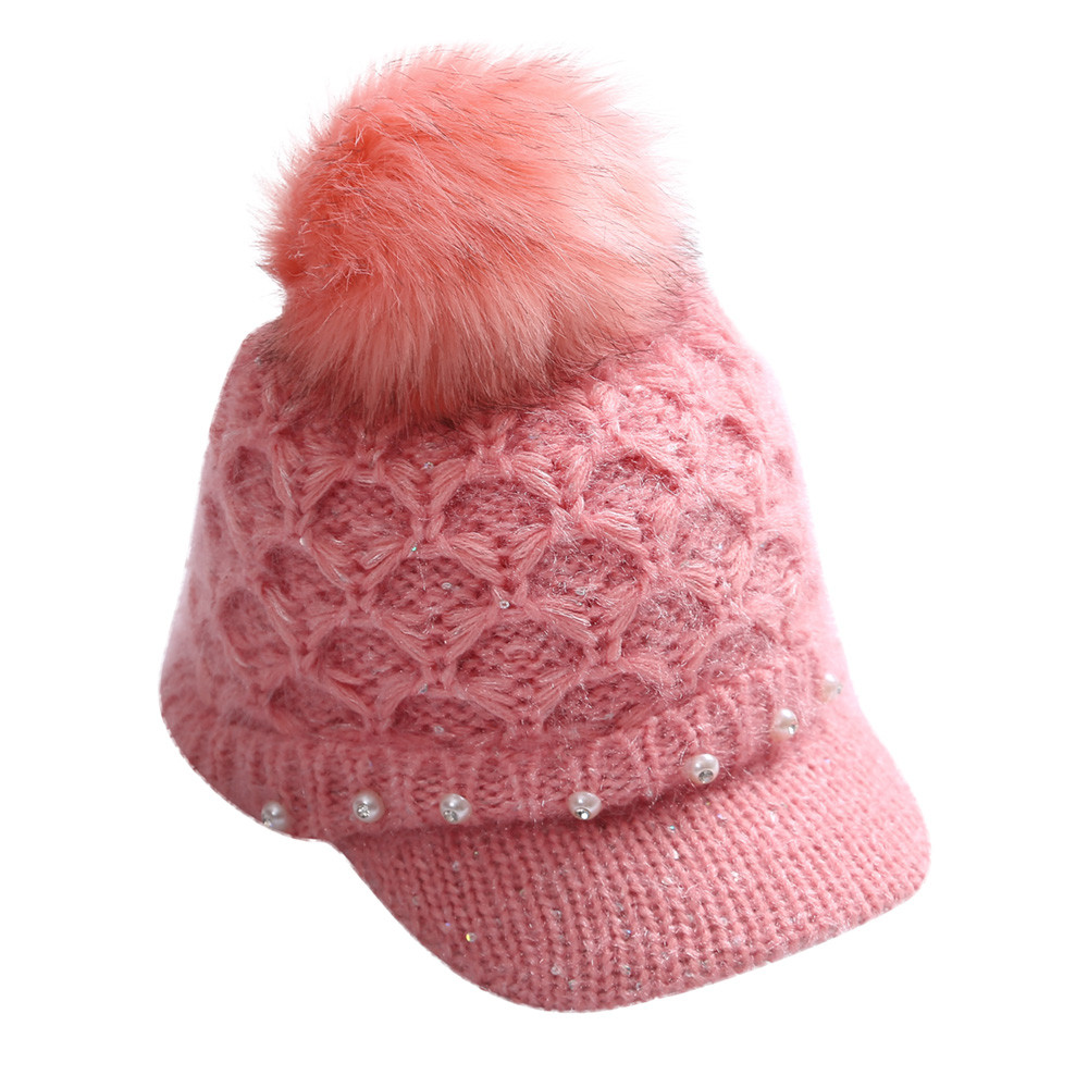Feitong Women knit hats with Viseira Winter Warm Crochet Winter Knit Wool Chapeu Pearl Peaked Hat POM Bulb Casual viseira