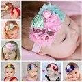 Baby Girl Shabby Chic Rosette Venda de La Flor Venda Del Bebé Hairband Niños Arcos Del Pelo Arcos de Lentejuelas 10 unids HB027