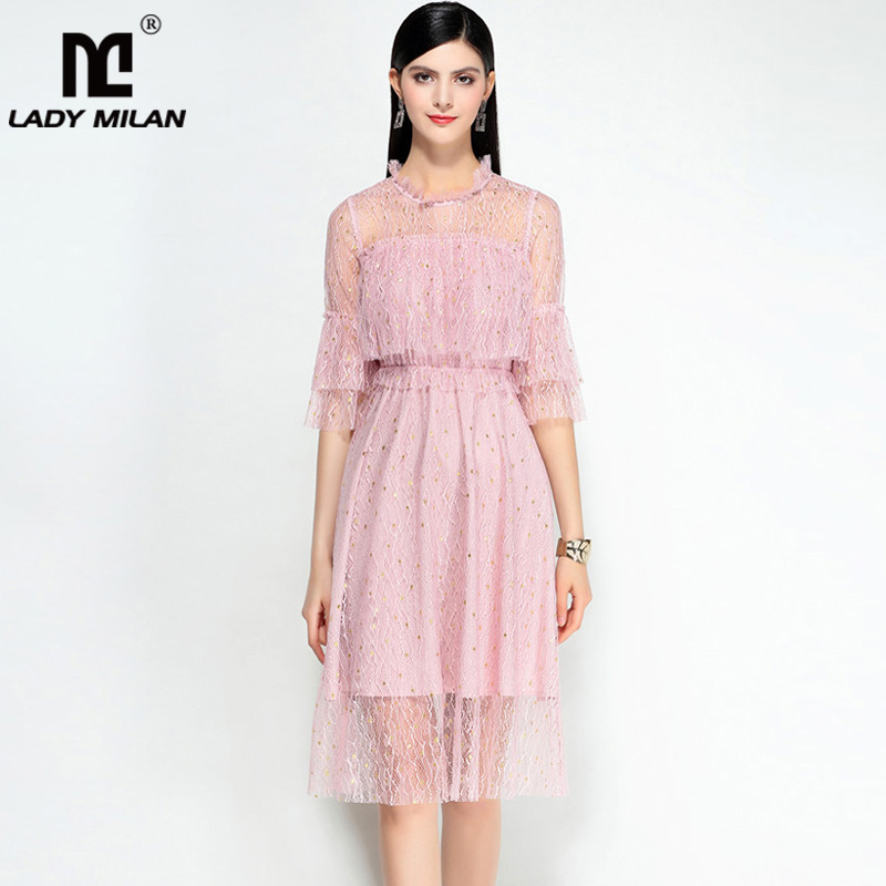 New Arrival 2018 Womens O Neck 3/4 Sleeves Ruffles High Street Elegant Knee Length Dresses