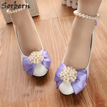 Sorbern Beaded Bowknot Purple Wedding Shoes Med Heels Round Toe Ladies  Party Shoes For Bridesmaid Girls 50cb7ff3ea4b