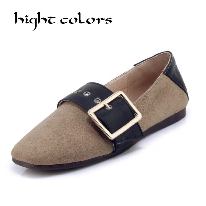 Fashion Women Square Toe Loafers Shoes Comfortable Flock Leather Slip on Soft Buckle Strap Shoes Ballet Flats Shoes dxm127 lady glitter high fashion designer brand bow soft flock plus size 43 leisure pointed toe flats square heels single shoes slip on