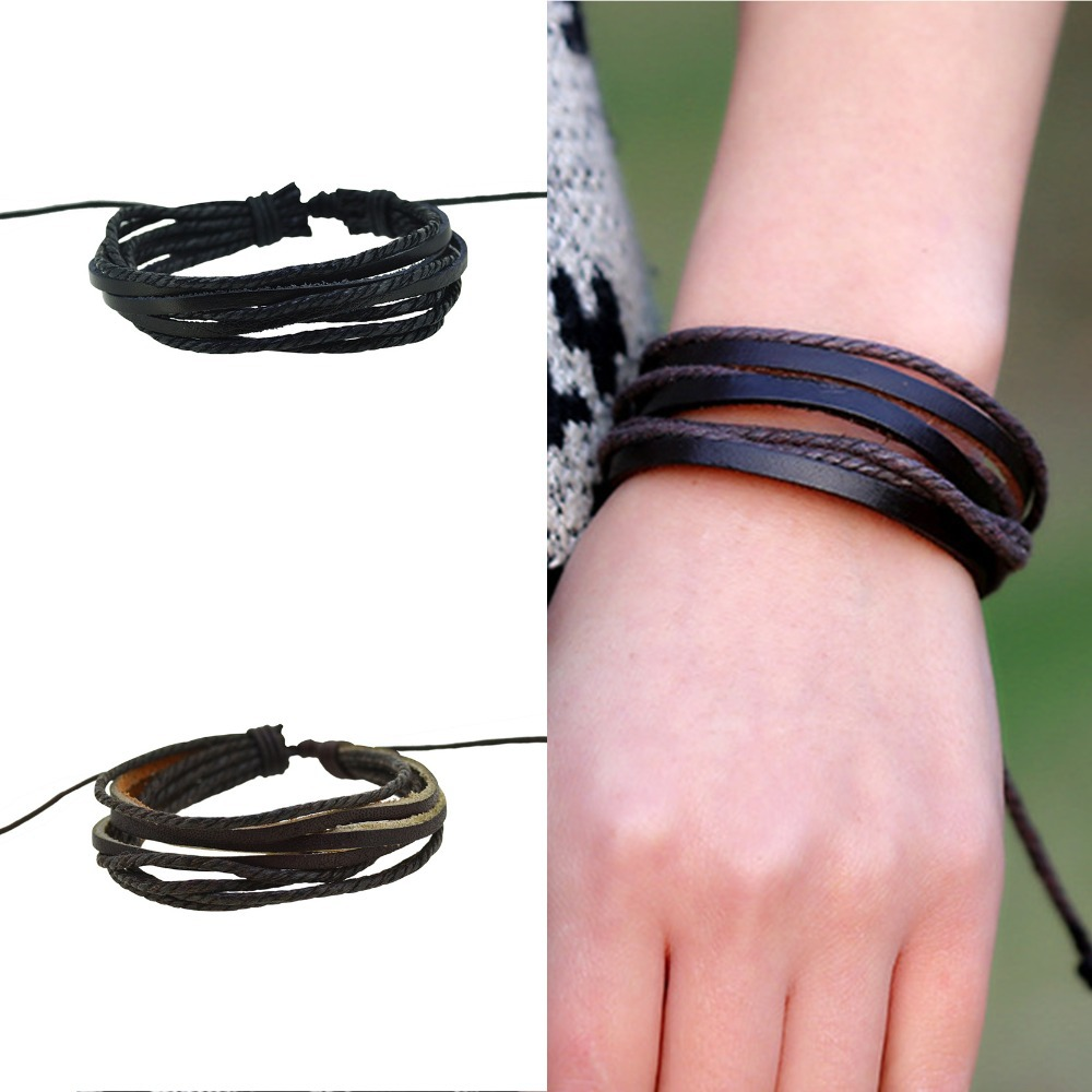 Christmas Gifts Women Men Wrap Charm Genuine Leather Bracelets Multilayer  Braid Leather Bracelets Bangles Cuff(