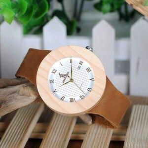 Image 5 - ボボ鳥 WC06 ヴィンテージラウンドパイン木製腕時計レディース高級ブランドデザインのクォーツ腕時計カレンダーでギフトボックス oem