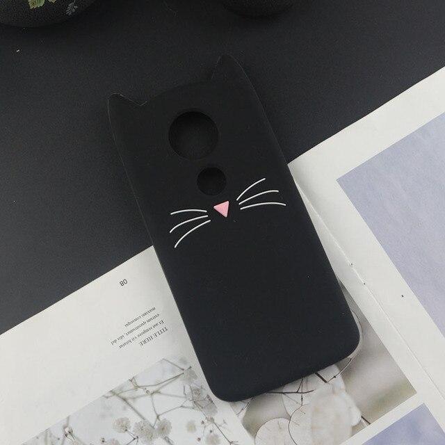 Cute 3D Cartoon Silicon Case for Motorola Moto E5 Plus E5+ Cases Japan Glitter Beard Cat Lovely Ears Kitty Phone Cover MOTOE5