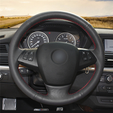 High quality Black Artificial Leather anti-slip customized car steering wheel cover For BMW E70 X5 2008-2013 цена и фото