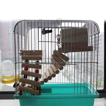 Beads Birds Toys Mouse Hamster Parrot Toys Stairs Parakeet Swing Exercise Wooden Bird Ladder Bridge Shelf Cage Pets Products