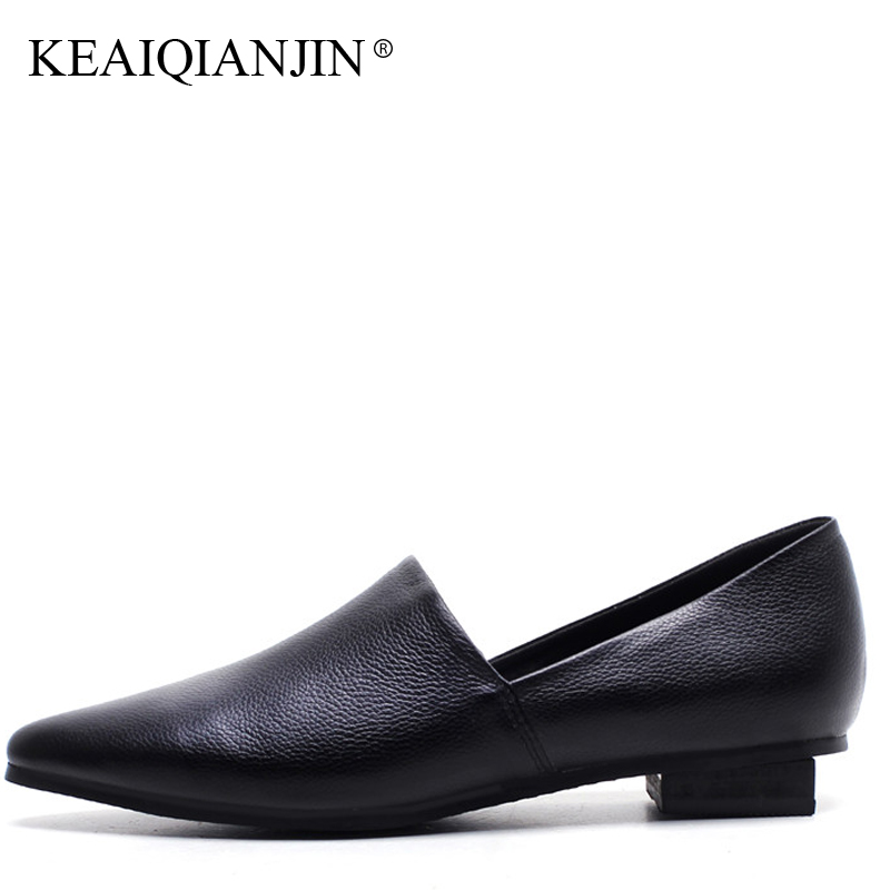KEAIQIANJIN Woman Genuine Leather Oxfords Plus Size 33 - 43 Spring Autumn Black White Shoes Fashion Casual Shallow Loafers 2018 keaiqianjin woman genuine leather shoes spring autumn black brown loafers shoes lazy plus size flats genuine leather loafers
