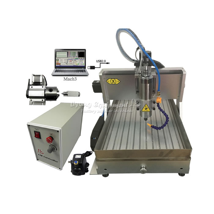 800W VFD water cooling spindle 6040 cnc cutting machine engraver USB port with water tank