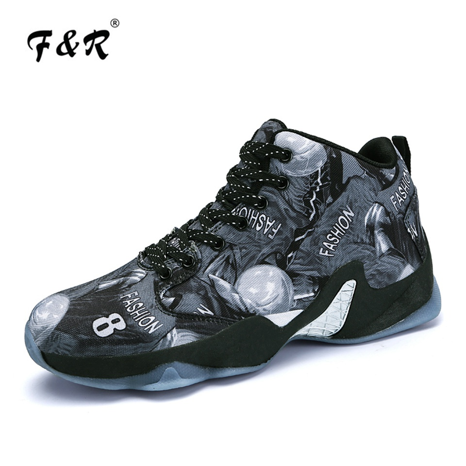 F&R Classical Style Men & Women Basketball Shoes Men Athletic Outdoor Sport Sneakers Kobe 8 Printed Basketball Boots 37-46