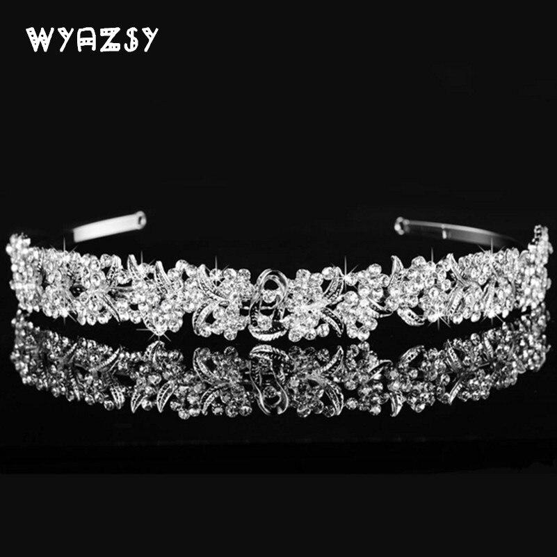 Baroque Vintage Rhinestone Fashion Flower Bridal Crowns Handmade Tiara Headband Crystal Diadem Crown Wedding Hair Accessories