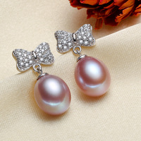 Women Gift word 925 Sterling silver real [bright pearl] natural freshwater pearl earrings earring drip shapedWhite pink purple