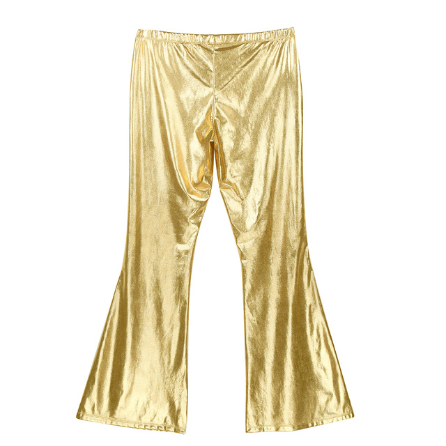 Men Pants Fashion Shiny Metallic Holographic Pants Club Wear Disco Leisure Long Pants Costume Casual Flared Bell Bottom Trousers 3