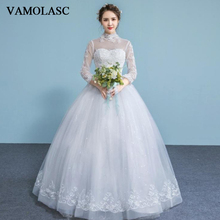 VAMOLASC Sequined High Neck Lace Appliques Ball Gown Wedding Dresses Illusion Long Sleeve Backless Bridal Gowns