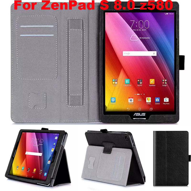 Magnetic Hand Strap Card Holder leather Case cover For Asus Zenpad S 8.0 Z580 Z580CA Z580C tablet cover case + screen protectors
