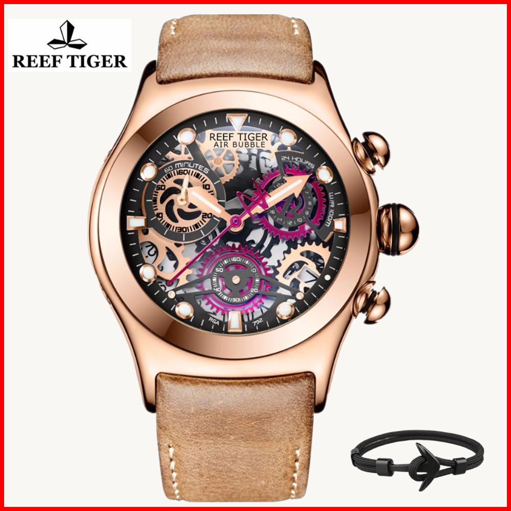 Reef Tiger RT Luxury Brand Sport Watches Mens Waterproof Luminous Quartz Skeleton Leather Watch Men Clock