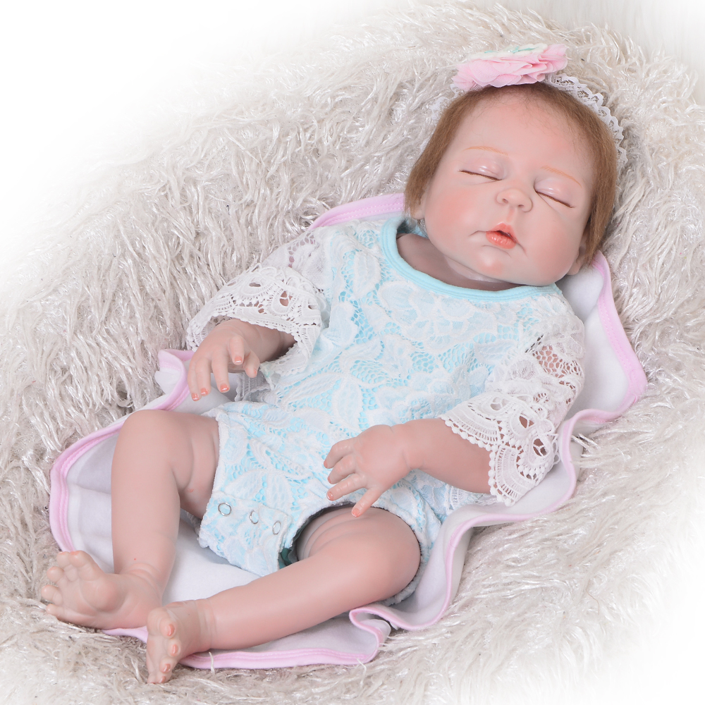 Real Like 57 cm Sleeping Boneca Reborn Lifelike Full Body Silicone Vinyl Reborn Dolls Babies Princess Baby Doll Toy For Gifts real like 57 cm sleeping boneca reborn lifelike full body silicone vinyl reborn dolls babies princess baby doll toy for gifts