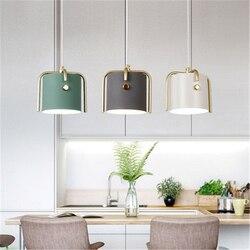 Nordic styl sztuki wiadro restauracja lampa wisząca kreatywny Macaron okrągłe projekt z kutego żelaza badanie sypialnia lampki nocne światła lampy
