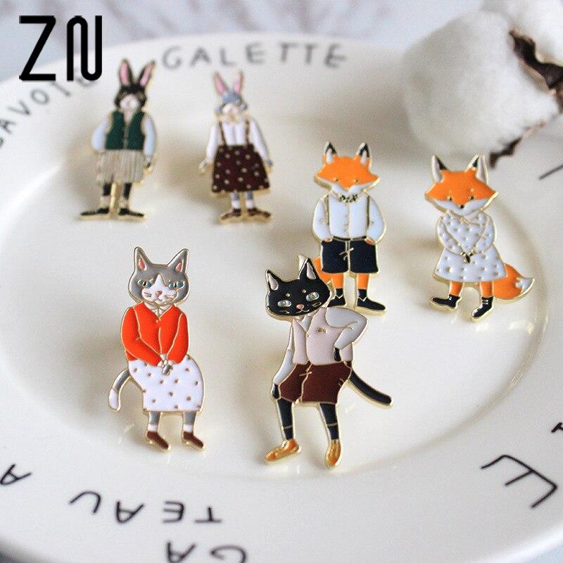 ZN 2018 New Hot Sale Fashion Lovely Cute Animal Fox Enamel Pin Rabbit Cat Envelop Brooch Pins Jewelry