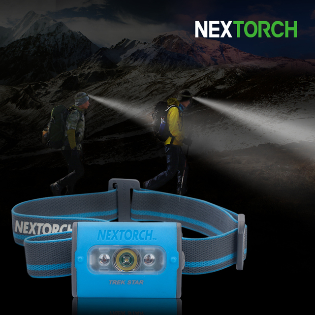NEXTORCH LED Headlamp 220 Lumen 3*AAA Battery Head Torch Headlamp High Power White Red LED S.O.S Camping Headlight#TREK STAR