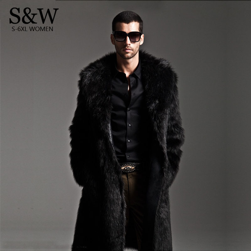 Winter Men Eco friendly Faux Fur Coat Mink Fur Jackets Full Length Parka Windbreaker Plue Size XXXL 4XL Men Winter clothing