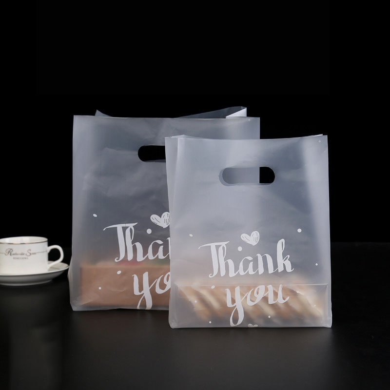 50pcs Thank You <font><b>Plastic</b></font> <font><b>Gift</b></font> <font><b>Bag</b></font> <font><b>with</b></font> <font><b>Handle</b></font> Birthday Party Decoration Wedding Favors Food Bread Candy <font><b>Bag</b></font> Cake Packaging <font><b>Bags</b></font> image