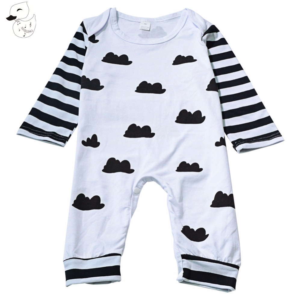 BINIDUCKLING 2017 Childrens Clothing Pajamas Romper Newborn Baby Rompers girl Overalls Boys Spring bebes clothes Striped