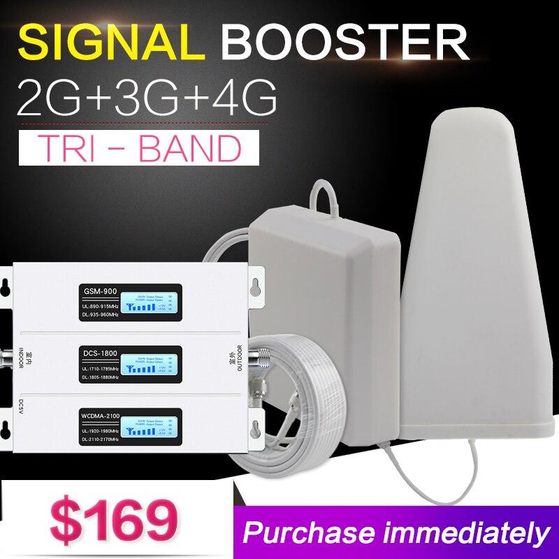 Nueva Europa 2G 3G 4G Tri banda de señal de teléfono celular Booster 70dB GSM repetidor 3G WCDMA UMTS 2100 4G LTE 1800 amplificador Set para el hogar