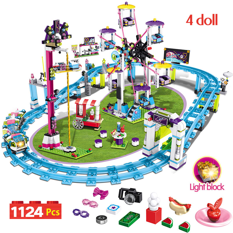 Bricks Compatible Legoingly Friends Amusement Park  Blocks Roller Coaster Figure Model Toys Hobbie Children Girls