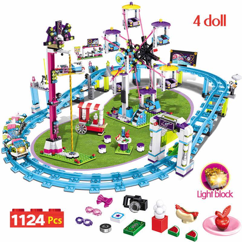 互換性 Legoingly 友人遊園地ブロックローラーコースターフィギュアモデルおもちゃ趣味子供女の子