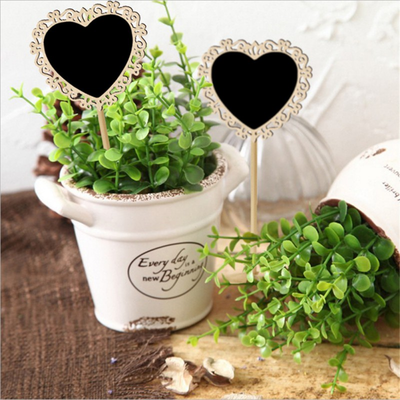 10pcs/set Romantic Cute Wood Blackboard With Stand Base Wooden Place Card Holder Signs Memo Table Number For Wedding Party