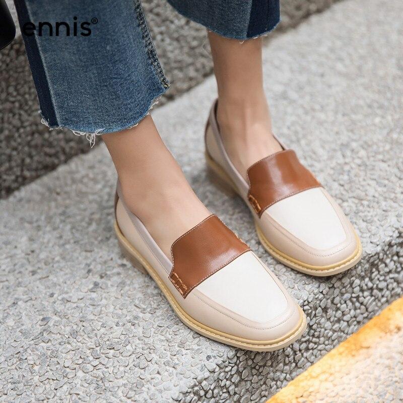 Ennis 2019 정품 가죽 보트 신발 여성 야외 캐주얼 신발 혼합 색상 신발 블랙 브라운 플랫 로퍼 가을 봄 c9108-에서여성용 플랫부터 신발 의  그룹 1