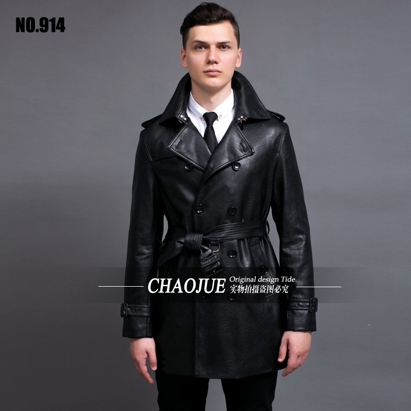 Leather Jacket 2018 plus size slim black PU leather trench coat for mens double breasted leather coats uk man outwear