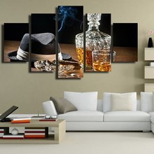 Canvas Foto Modulaire Wall Art 5 Stuks Wijn Schilderen HD Print Bruin Drank In Cup Met Sigaar Poster Home Decor(China)