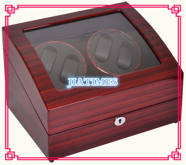 New Wholesale Luxury Stripped Red& Black Auto Watch Winder 4 Watches & Storage 6 Watch Chronometer Timepiece