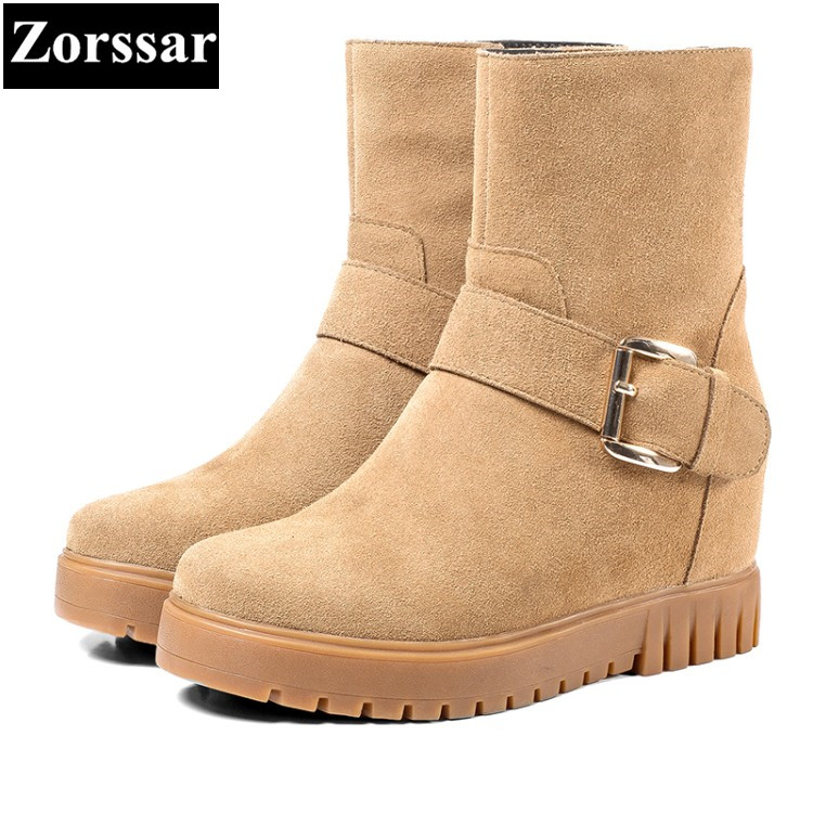 {Zorssar} 2017 NEW winter female shoes suede Height Increasing wedges ankle snow Boots women boots high heels platform shoes zorssar 2017 new classic winter plush women boots suede ankle snow boots female warm fur women shoes wedges platform boots