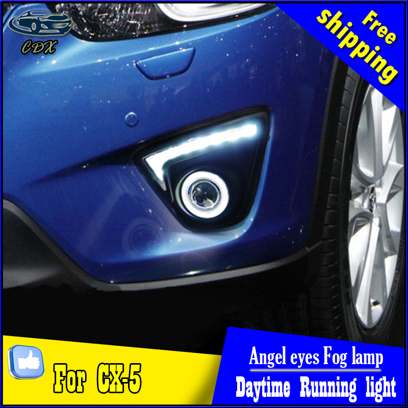 CDX car styling angel eyes fog light  for Mazda cx-5  2013-2015 year LED DRL+ LED Angel eyes LED fog lamp Accessories купить